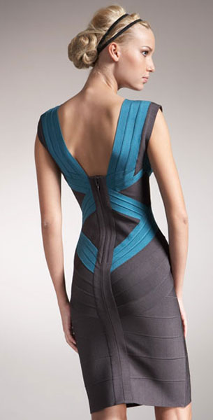 Herve Leger Bandage Colorblock Dress Blue