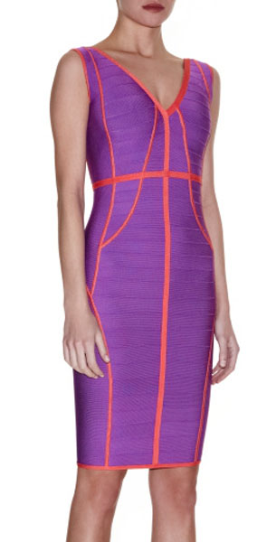 Herve Leger Bandage Dress Apricot