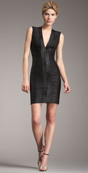 Herve Leger Bandage Keyhole-Back Dress Black
