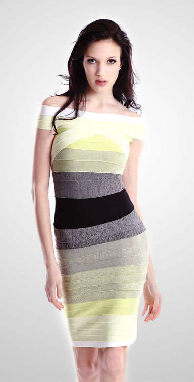 Herve Leger Ombre Bandage Dress Lemon
