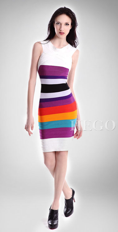Herve Leger Rainbow Ombre Bandage Dress