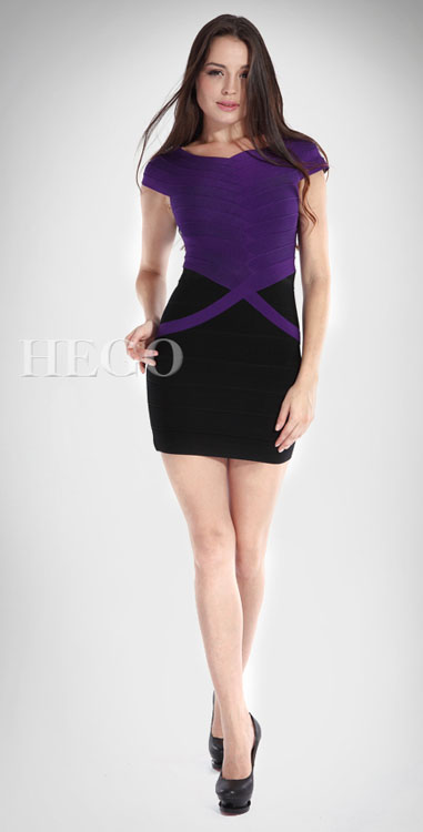 Herve Leger Bi Colour Banding Dress Black And Purple