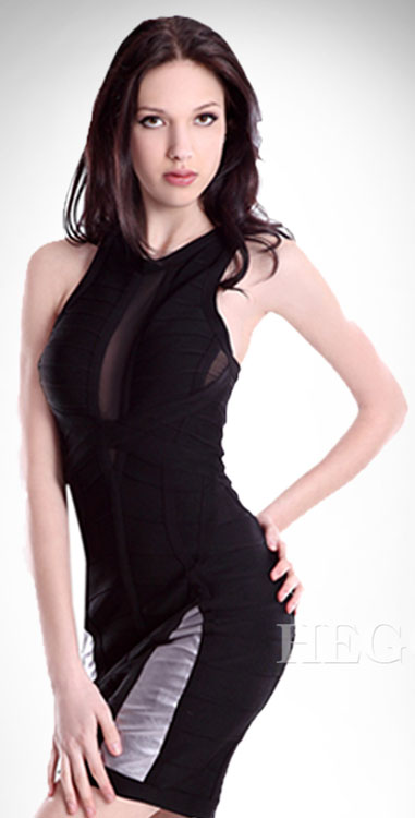Herve Leger Dress Black Organza