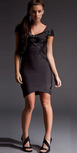 Herve Leger Coffe With Black Leather Ornate Dress