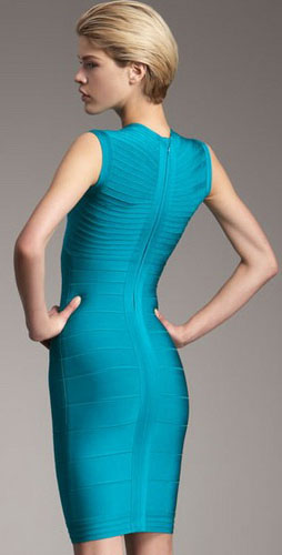Herve Leger Contrast Neck Dress