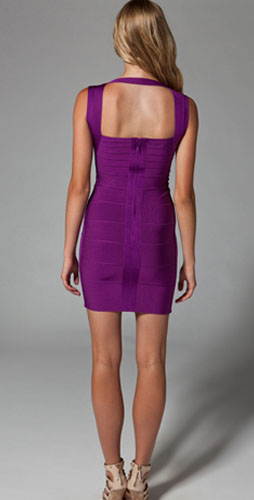 Herve Leger Dark Violet With Wide Shoulder Belts Elegance Dress