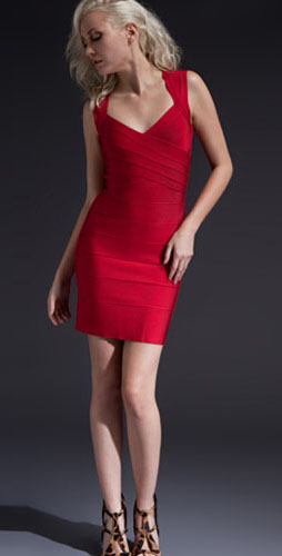 Herve Leger Bright Red With Wide Shoulder Belts Elegance Dress