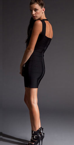 Herve Leger Black With Wide Shoulder Belts Elegance Dress