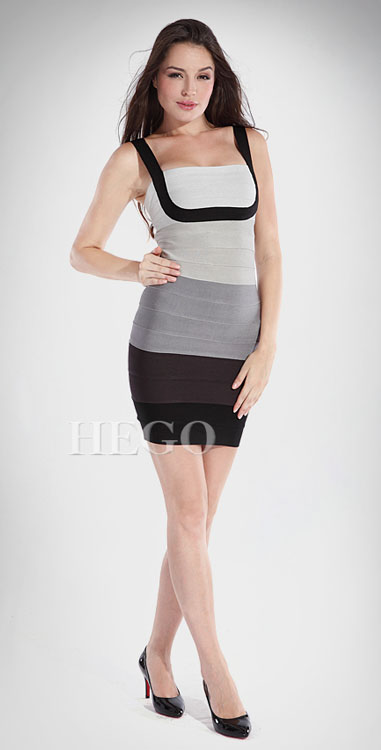 Herve Leger Bandage Dress Gray Black