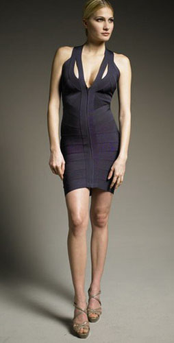 Herve Leger Halterneck Bandage Dress In Dark Night