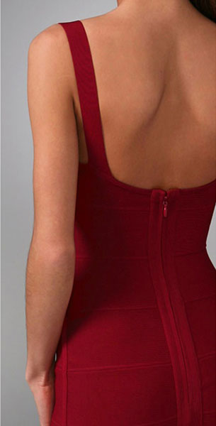 Herve Leger Lady In Red Bandage Dress