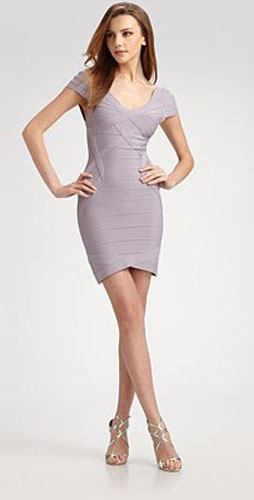 Herve Leger Lavender Blush Short Sleeves Elegance Dress