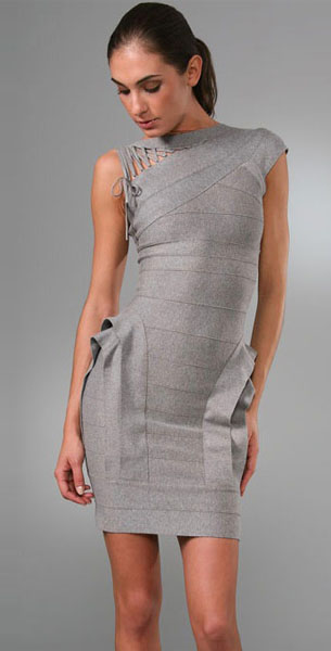 Herve Leger Layered Bandage Dress Light Heather Grey