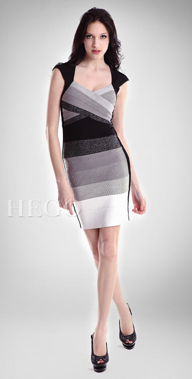 Herve Leger Ombre Open-Back Bandage Dress