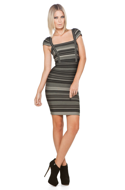 Herve Leger Striped Cap Sleeve Bandage Dress