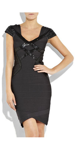 Herve Leger Sequin Embellished Bandage Dress