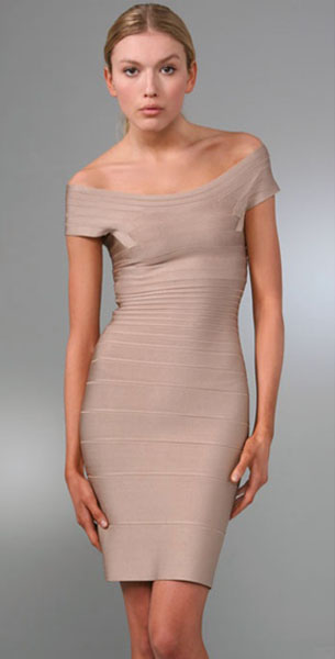 Herve Leger Signature Essentials Off Shoulder Cocktail Dress