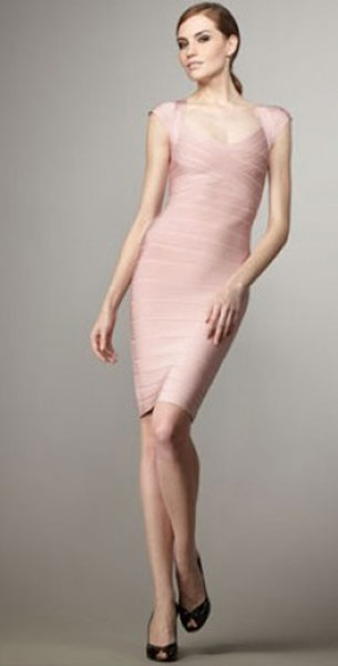 Herve Leger Silver Metallic Cap-Sleeve Bandage Dress Petal Pink