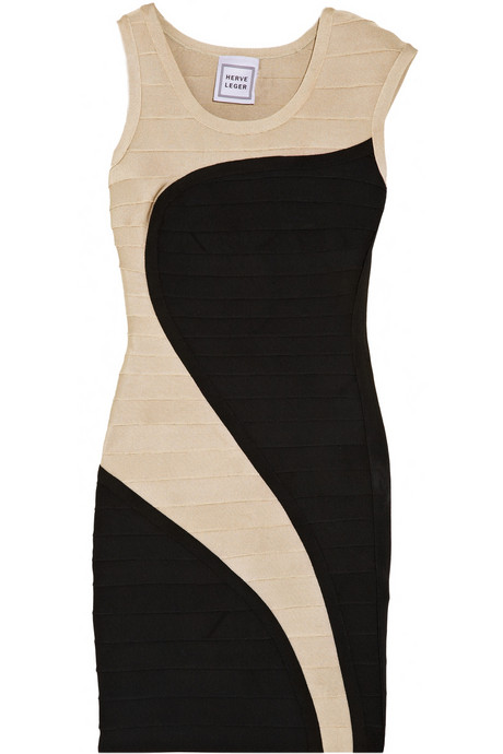 Herve Leger Two tone Bandage Dress
