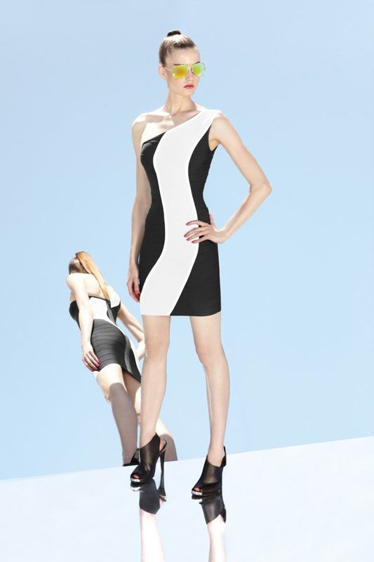 Herve Leger 2014 Black And White Colorblock Dress