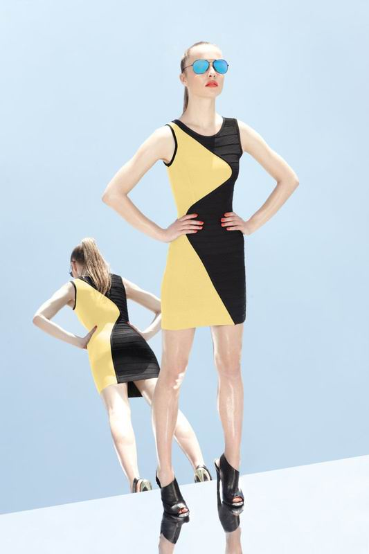 Herve Leger 2014 Black And Yellow Colorblock Bandage Dress