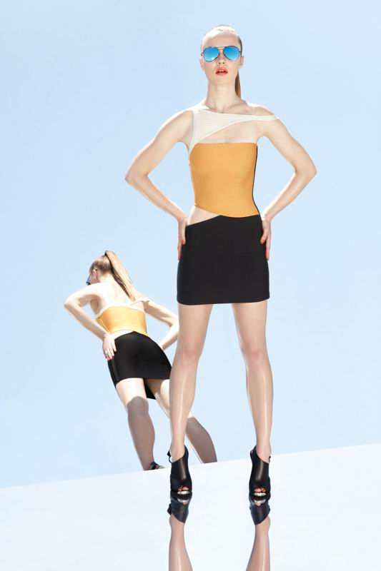 Herve Leger 2014 Classically Yellow And Black Colorblock Dress