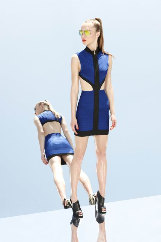 Herve Leger 2014 Cut Out Black And Blue Dress