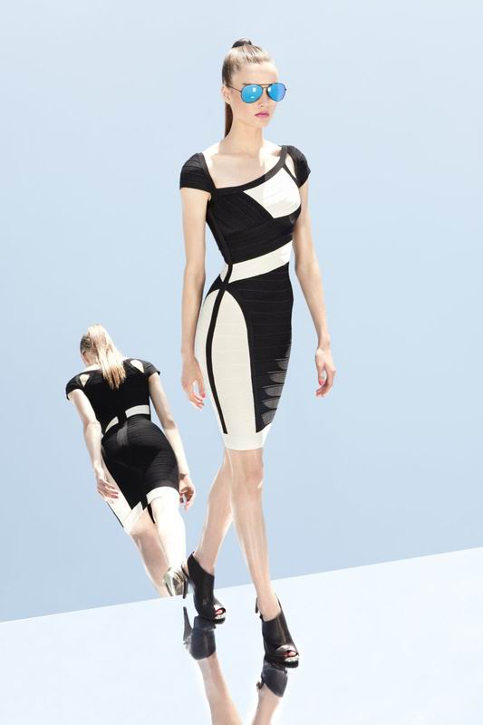 Herve Leger 2014 New White And Black Dress