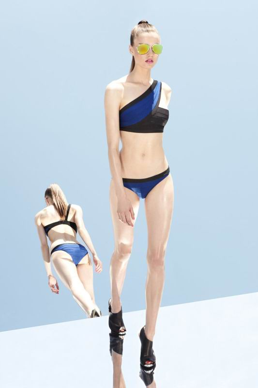 Herve Leger 2014 Resort Black And Blue Swimsuit