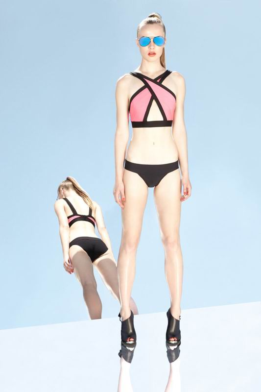 Herve Leger 2014 Resort Black And Pink Colorblock Swimwear