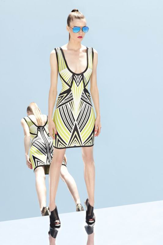 Herve Leger 2014 Resort Black And Yellow Colorblock Dress