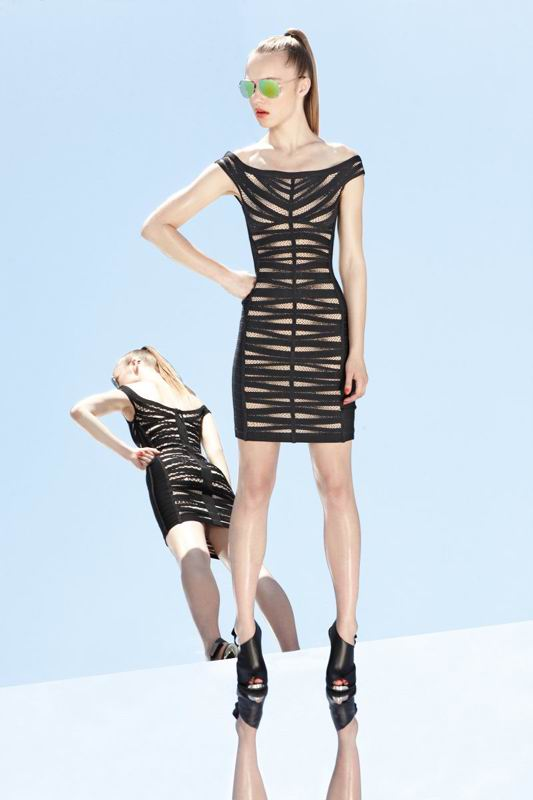Herve Leger 2014 Resort Black Cutout Dress