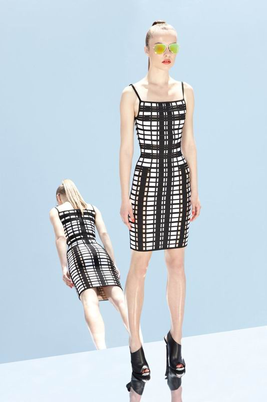 Herve Leger 2014 Resort Classically Black And White Dress