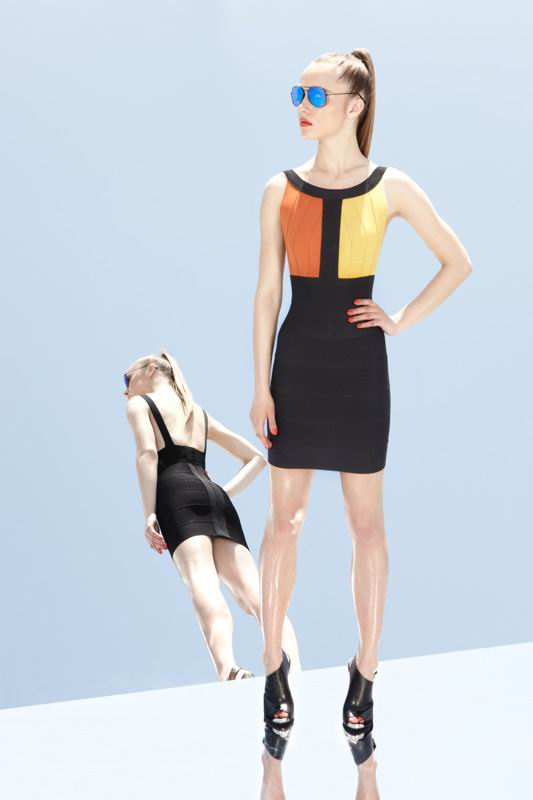 Herve Leger 2014 Resort Colorblock Dress