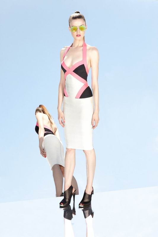 Herve Leger 2014 Resort Colorblock Halter Bandage Dress