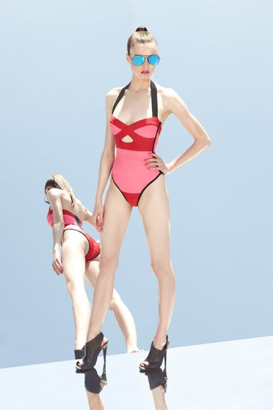 Herve Leger 2014 Resort One Piece Colorblock Swimsuit