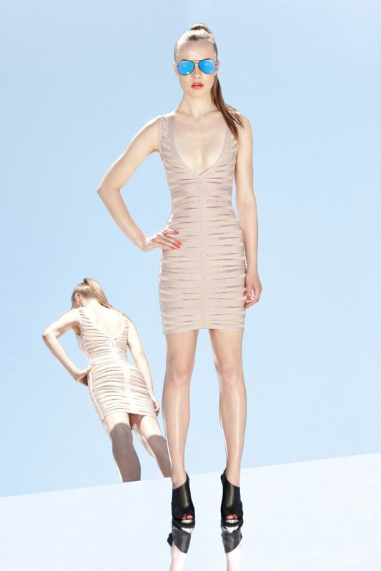 Herve Leger 2014 Resort V Neck Dress