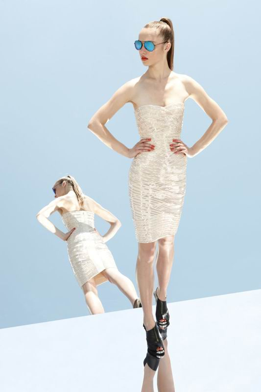 Herve Leger 2014 White Strapless Dress