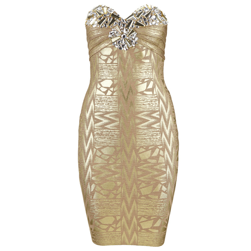 Herve Leger Gold Strapless Beading Dress New Style Gold Dress