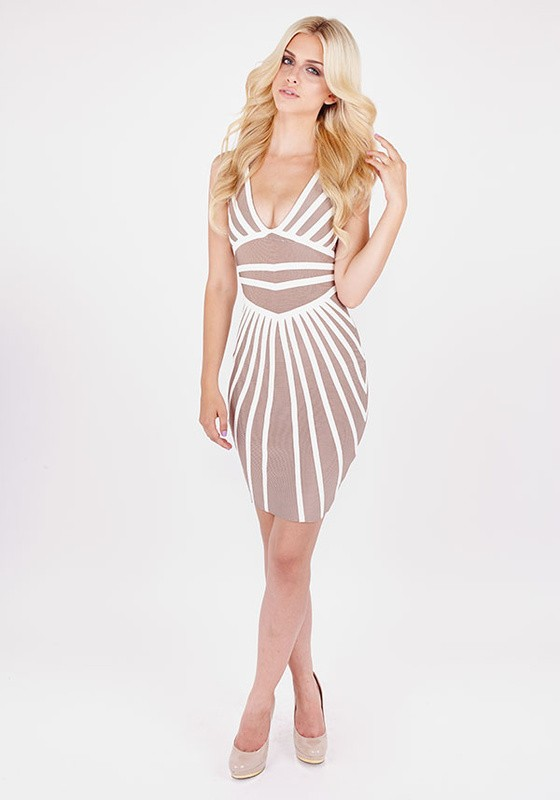 Herve Leger Beige White Color Block V Neck Backless Bandage Dress
