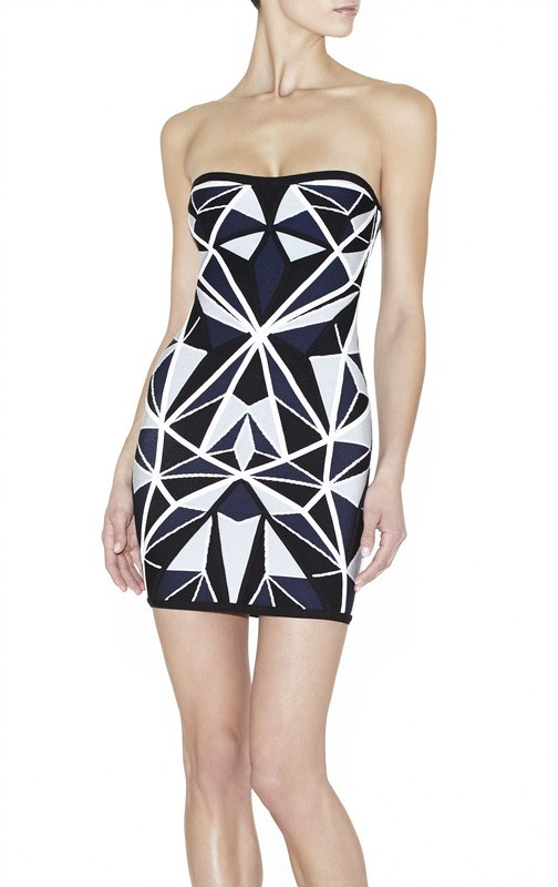 ad362a90d5d1 Herve Leger Black And Blue Geometric Strapless Dress