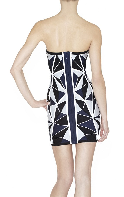 Herve Leger Black And Blue Geometric Strapless Dress
