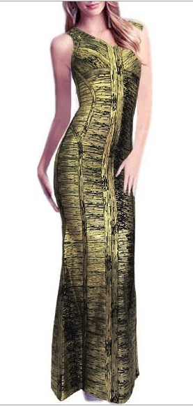 Herve Leger Black And Gold V Neck Jacquard Bandage Gown