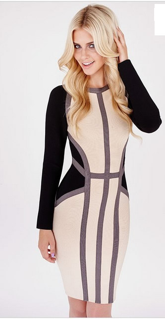 Herve Leger Black And Nude Colorblock Long Sleeve Bandage Dress