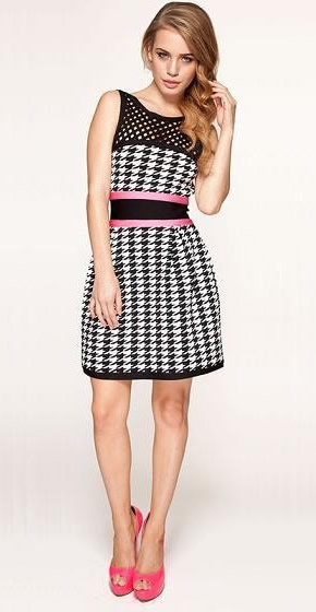 Herve Leger Black And White Colorblock Plaid Dress