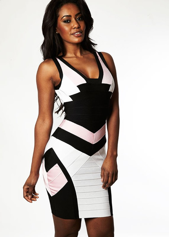 Herve Leger Black And White Colorblock V Neck Bandage Dress