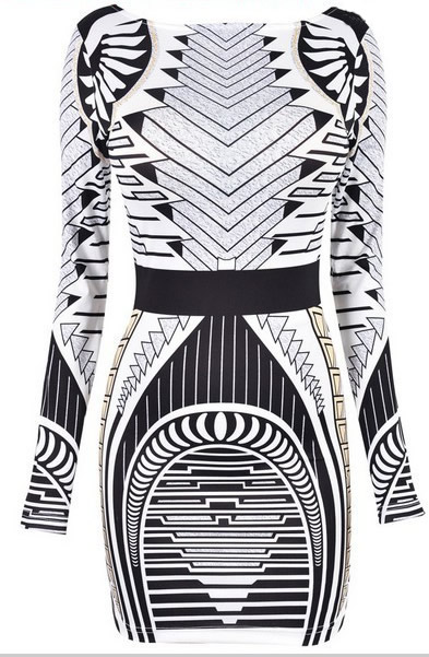 Herve Leger Black And White Geometric Jacquard Long Sleeve Dress