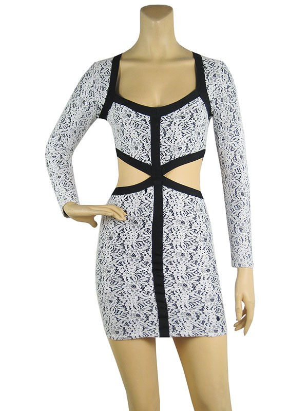 Herve Leger Black And White V Neck Long Sleeve Cut Out Bandage Dress