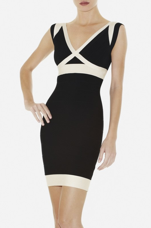 Herve Leger Black And White V Neck New Fashion Style Dress