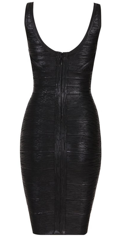 Herve Leger Black Cross V Neck Jacquard Bandage Dress